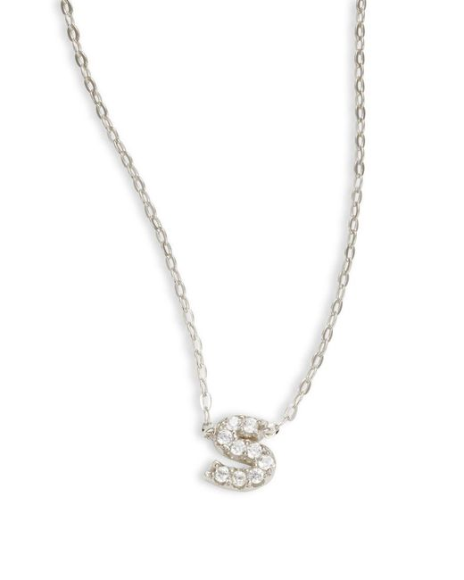 Nadri - Metallic Sterling Silver S Initial Necklace - Lyst
