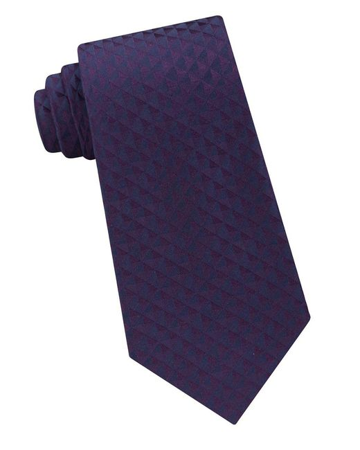 Calvin Klein - Purple Optic Geo Silk Tie for Men - Lyst