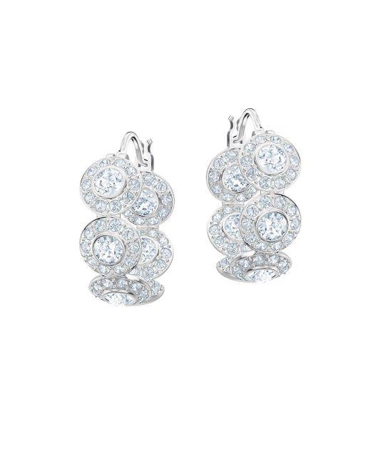 ce5b804a1 Swarovski - Metallic Angelic Crystal Hoop Earrings - Lyst ...
