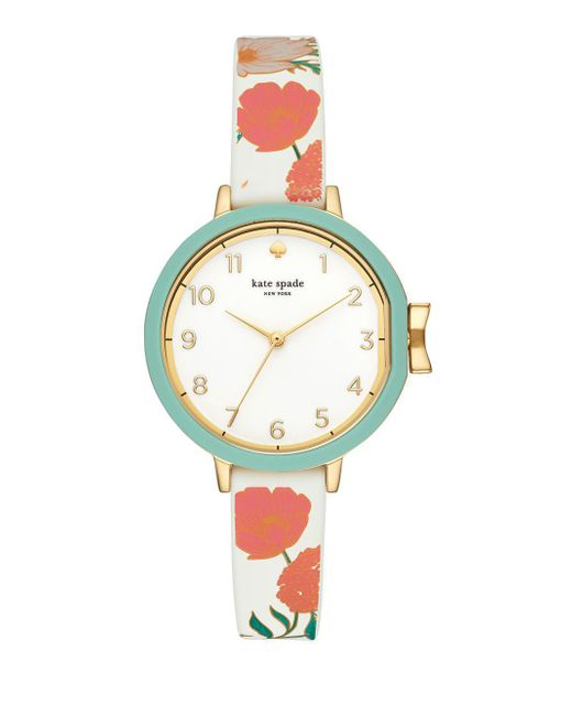 Kate Spade - Multicolor Goldtone And Floral Silicone Park Row Watch - Lyst