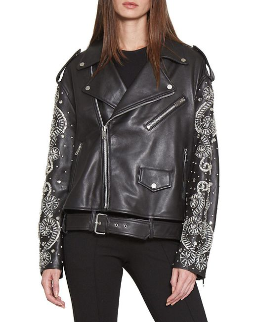 Walter Baker - Black Embroidered Leather Moto Jacket - Lyst