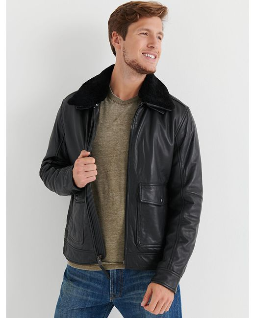 Lucky Brand - Black Shearling Leather Jacket for Men - Lyst ... a66f7f09c6a72