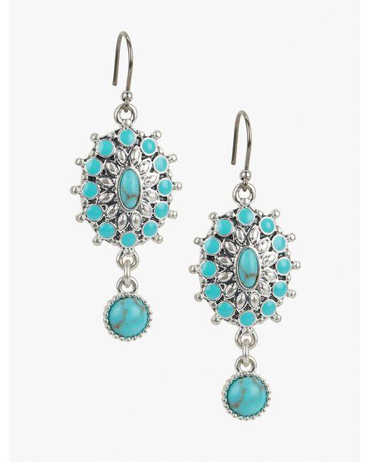 Lucky Brand | Metallic Turquoise Blossom Earring | Lyst