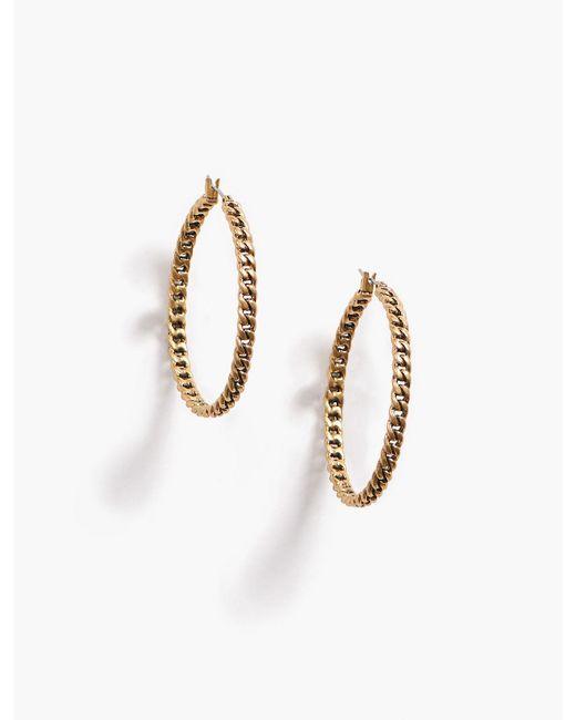 Lucky Brand - Metallic Chain Link Hoop Earring - Lyst