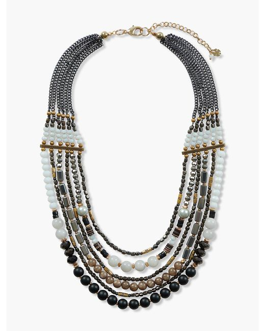 Lucky Brand - Metallic Gold Beaded Statement Necklace - Lyst