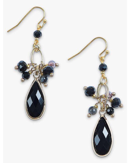 Lucky Brand - Metallic Black Gold Drop Earring - Lyst