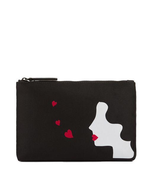 Lulu Guinness - Black Kissing Cameo Satin Top Zip - Lyst
