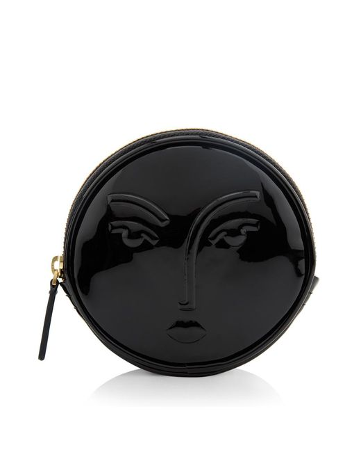 Lulu Guinness | Black Patent Leather Moon Lady Carolina Coin Purse | Lyst