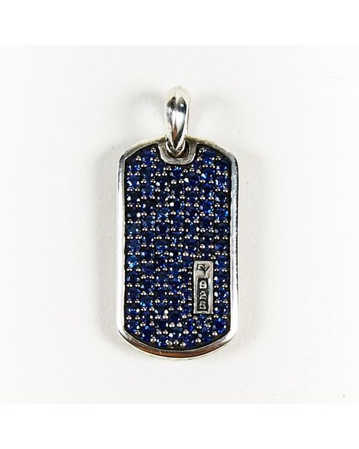 David Yurman - Blue Sapphire & Sterling Silver Pave Dog Tag Pendant - Lyst