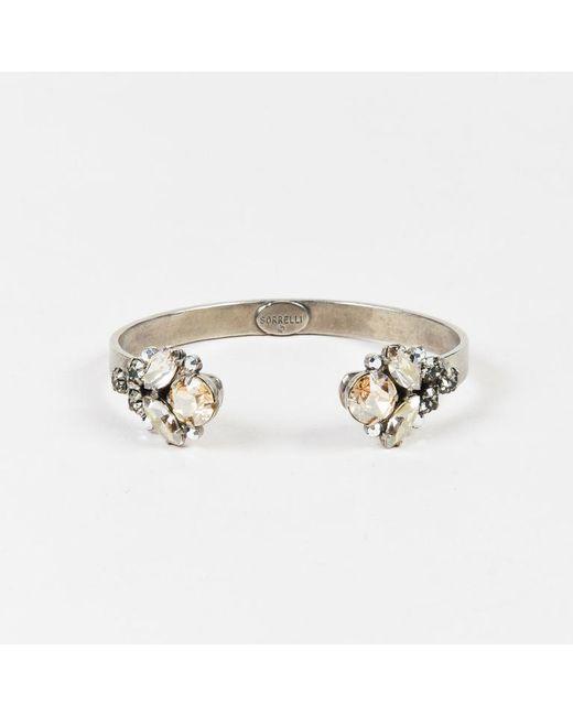 Sorrelli - Metallic Silver Tone Crystal Embellished Open Bracelet - Lyst