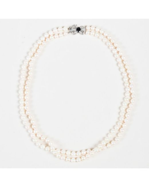Unbranded - Metallic Pearls 14k White Gold Diamonds Black Sapphire Bow Double Strand Necklace - Lyst