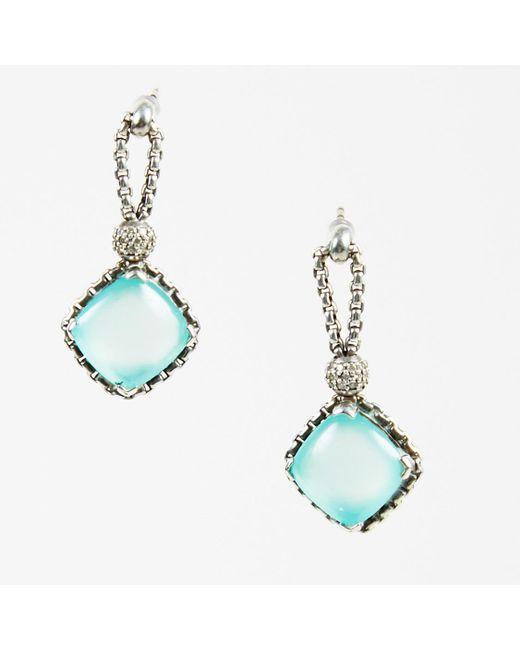"David Yurman - Blue Sterling Silver Aqua Chalcedony ""cushion On Point"" Earrings - Lyst"