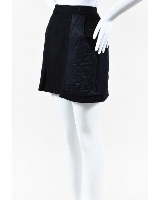 Marni - Black Wool Blend Quilted Pocket Mini Skirt - Lyst