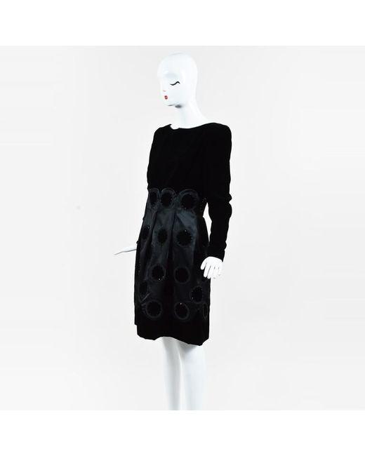 Carolina Herrera - Black Velvet Crystal Embellished Pleated Dress - Lyst