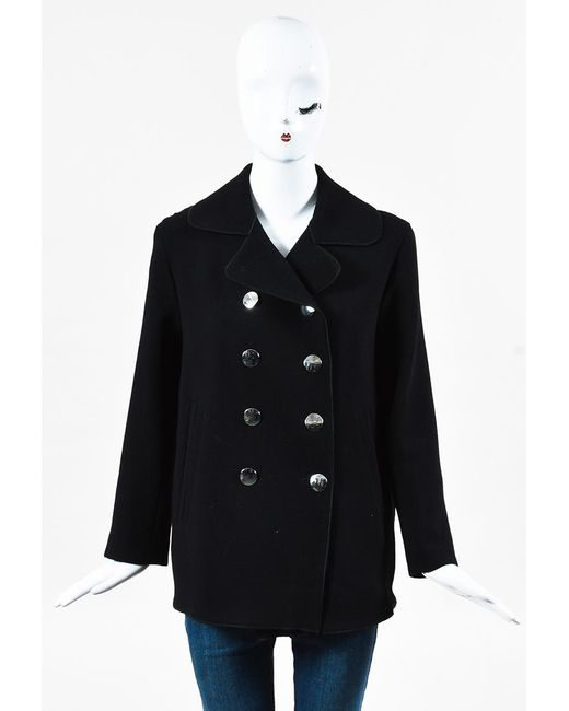 Marc Jacobs - Black Virgin Wool Silver Tone Button Double Breasted Coat - Lyst
