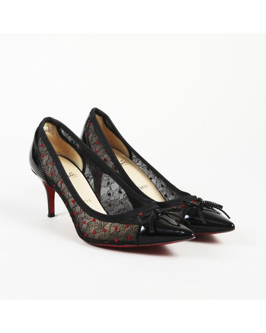 7814b4dca753 Lyst - Christian Louboutin Lace Patent Leather Pointed Pumps in Black