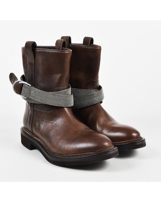 Brunello Cucinelli - Brown Leather Monili Beaded Strap Moto Boots - Lyst