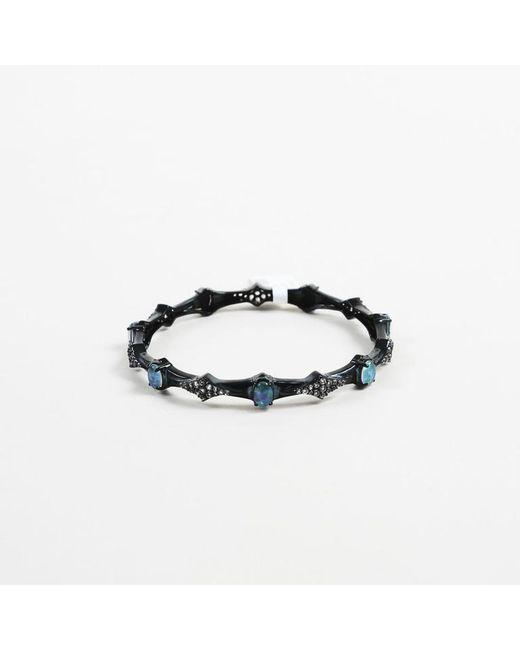Unbranded - Blue Opal White Topaz & Sterling Silver Bangle Bracelet - Lyst