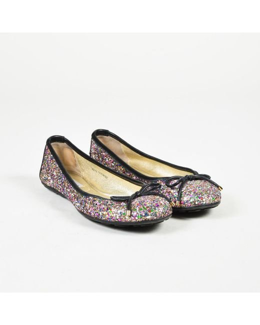 Jimmy Choo - Metallic Multicolor Leather Glittered Bow Flats - Lyst
