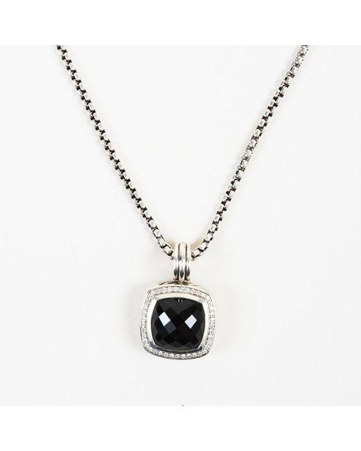 "David Yurman - Metallic Sterling Silver Onxy Pave Diamonds ""albion Pendant"" Necklace - Lyst"