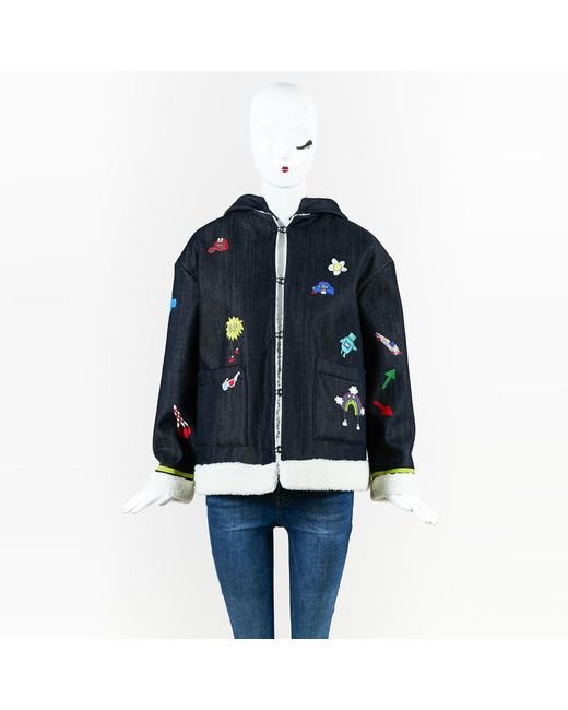 "MIRA MIKATI - Blue Multicolor Denim Hand-painted ""play More"" Jacket - Lyst"