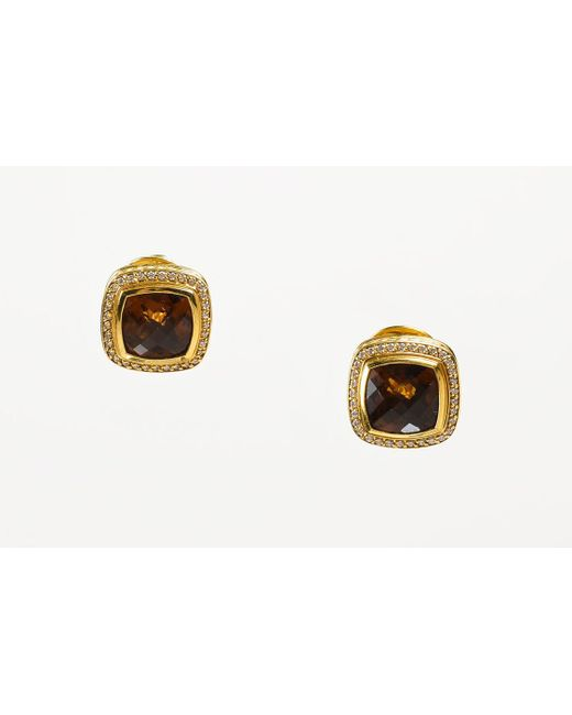 "David Yurman - Metallic Citrine 18k Gold Diamond ""albion Collection"" Square Earrings - Lyst"