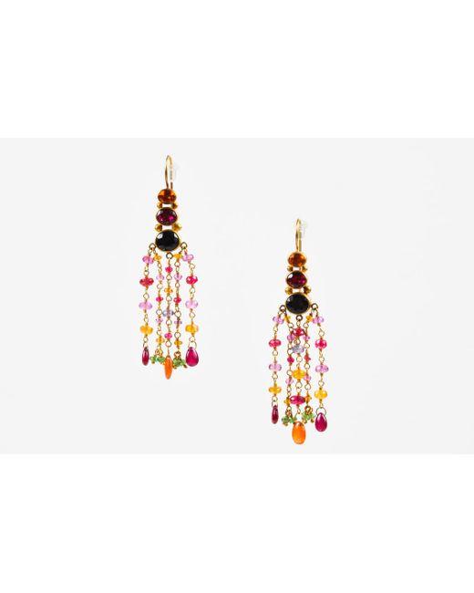 Mallary Marks - Metallic 22k 18k Yellow Gold Multicolor Pink Gemstone Chandelier Earrings - Lyst