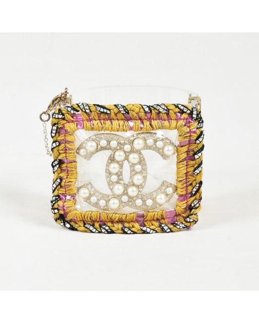 Chanel - Metallic Clear Acrylic Multicolor Woven Faux Pearl 'cc' Cuff Bracelet - Lyst