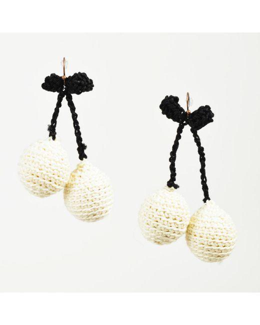 "Rosie Assoulin - Cream And Black Crochet Knit ""pair Of Cherry"" Drop Earrings - Lyst"