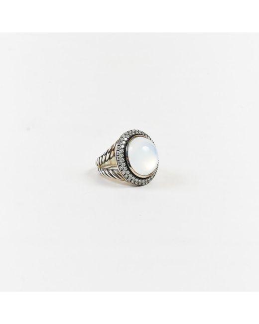 David Yurman - Metallic Sterling Silver Diamond Mother Of Pearl Moonstone Cerise Ring - Lyst