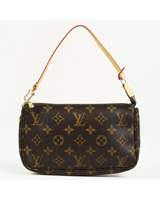 """Louis Vuitton - Brown """"pochette"""" Monogram Coated Canvas Bag - Lyst"""