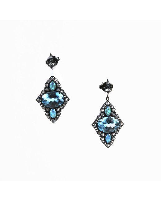 Unbranded - Nwot Blue & White Topaz Opal Triplet Sterling Silver Kite Earrings - Lyst