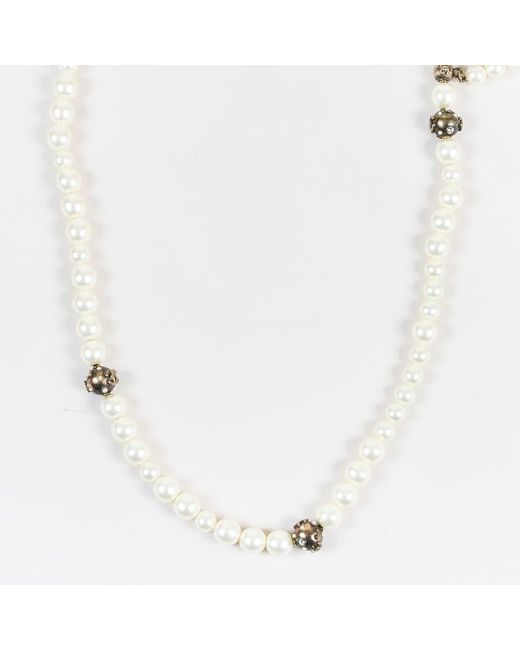Chanel - Natural 06p Cream Faux Pearl Crystal Accent Strand Necklace - Lyst