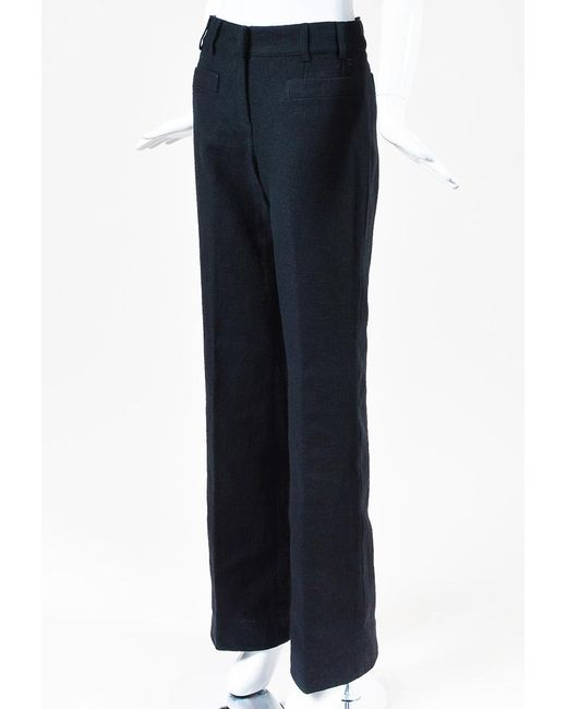 Chanel - Nwt Navy Blue Tweed Woven Wide Leg Trouser Pants - Lyst