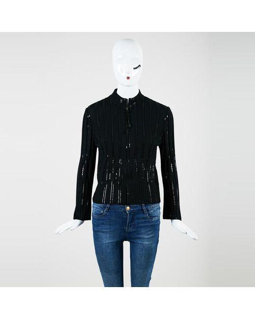 St. John - Black Ribbed Knit Sequin Embellished Zip Up Cardigan - Lyst