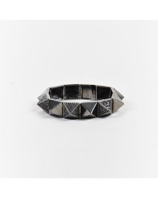 Noir Jewelry - Metallic Silver Tone Cubic Zirconia Crystal Pyramid Bracelet - Lyst