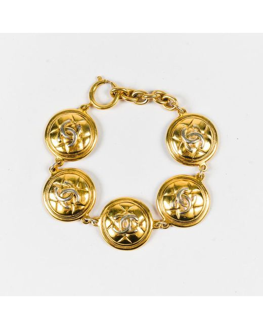 Chanel - Metallic Vintage Gold Tone Metal 'cc' Quilted Medallion Bracelet - Lyst