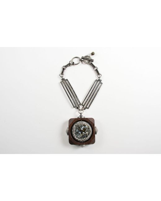 Lanvin - Silver Tone Brown Wood Oversized Crystal Pendant Necklace - Lyst