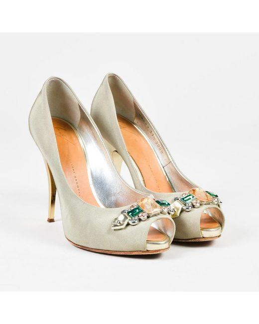 Giuseppe Zanotti - Gray Bejeweled Metallic Heel Peep Toe Pumps - Lyst
