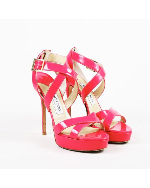 a34bba15e3a1 Lyst - Jimmy Choo Pink Patent Leather Strappy Sandals in Pink