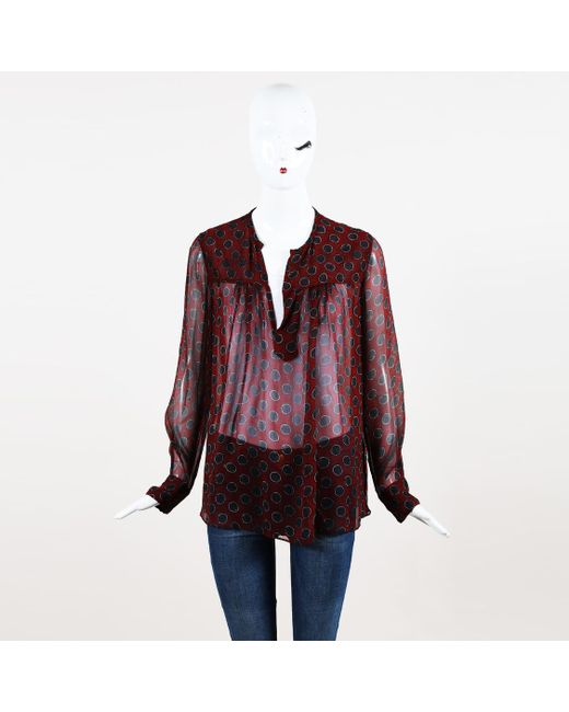 1c5b9a8f2c006 Isabel Marant Etoile Printed Silk Blouse in Red - Lyst