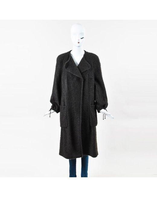 Akris - Brown Mohair & Wool Blend Asymmetrical Drawstring Midi Coat - Lyst