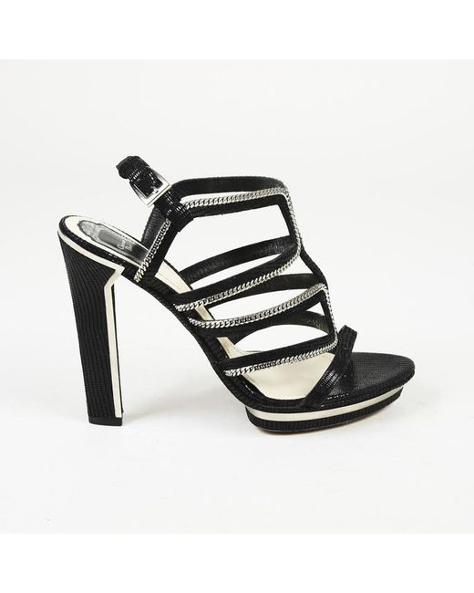 Dior Black Leather Chainlink Cage Sandals