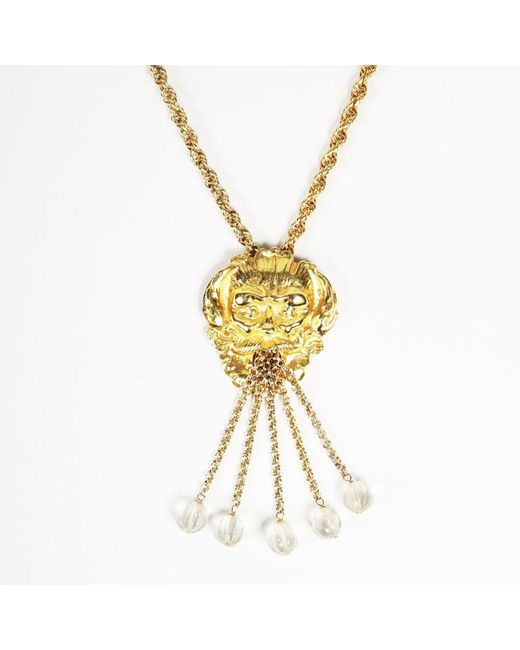 Unbranded - Metallic Vintage Gold Tone Beaded Relief Fountain Pendant Necklace - Lyst