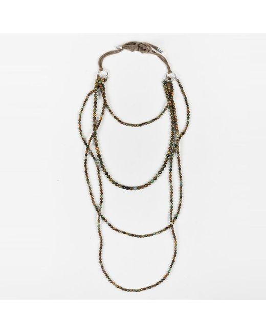 Brunello Cucinelli - Brown Multicolor Faceted Beads Long Layered Necklace - Lyst
