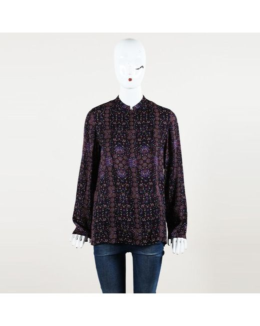 4b323d1bc25 Lyst - Hermès Printed Silk Blouse in Purple