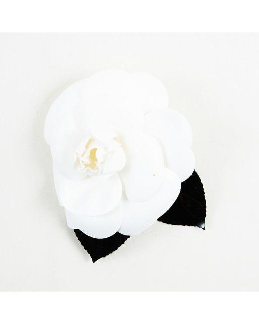 "Chanel - White & Black ""camellia"" Brooch - Lyst"
