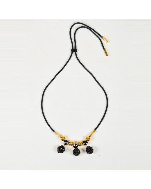 Marni - Metallic Black & Gold Strass Crystal Drawstring Cord Pendant Necklace - Lyst