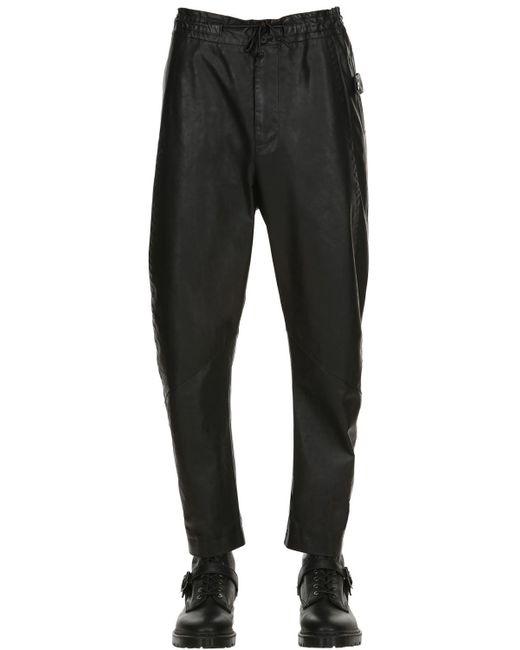 Isabel Benenato - Black Low Crotch Leather Wide Leg Pants for Men - Lyst