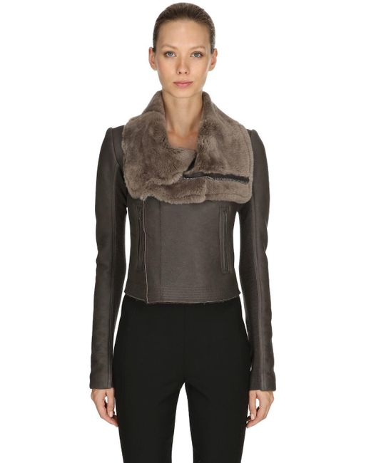Rick Owens - Gray Leather Biker Jacket W/ Fur Collar - Lyst